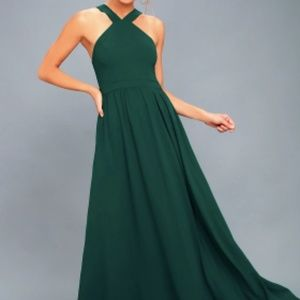 Lulus Air of Romance Forest Green Maxi Dress